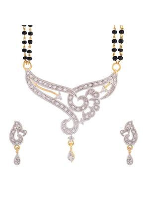 Awww DM-MS-554 Golden Women Mangalsutra with Earring
