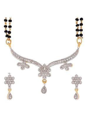 Awww DM-MS-596 Golden Women Mangalsutra with Earring