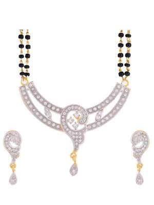 Awww DM-MS-619 Golden Women Mangalsutra with Earring