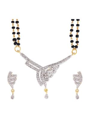 Awww DM-MS-688 Golden Women Mangalsutra with Earring