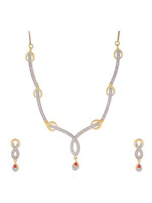 Awww Dm-Ns-147 Golden Women Necklace Set