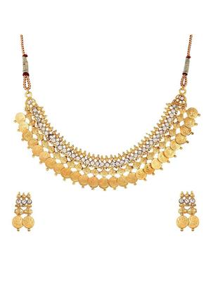 Awww Dm-Ns-280 Golden Women Necklace Set