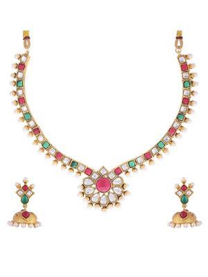 Awww Dm-Ns-319 Golden Women Necklace Set