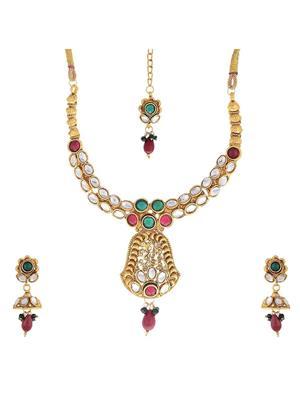 Awww Dm-Ns-328 Golden Women Necklace Set