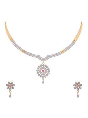 Awww Dm-Ns-547 Golden Women Necklace Set