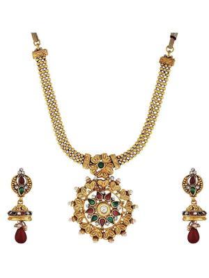 Awww Dm-Ns-628 Golden Women Necklace Set