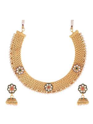 Awww Dm-Ns-94 Golden Women Necklace Set