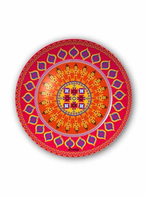 Kolorobia DP10IKT08  Fuschia Orange Ikat Decorative Plate