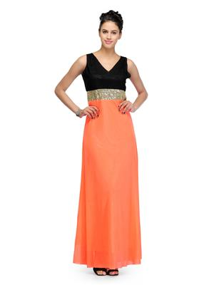 Eleganz21 DRS1027 Peach Women Dress