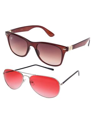 Eddys ED-SLM-BRN-WAY-SHN-RED-AVT-3148 Brown Unixex Combo Sunglass