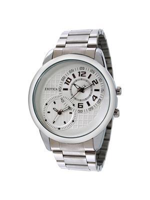 Exotica Fashions  EF-50-Dual-St-W White Men Wrist Watch
