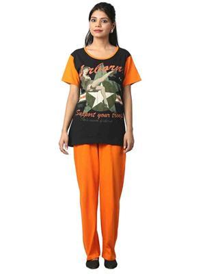 ELITE EL- 18 Black & Orange Women Night Wear