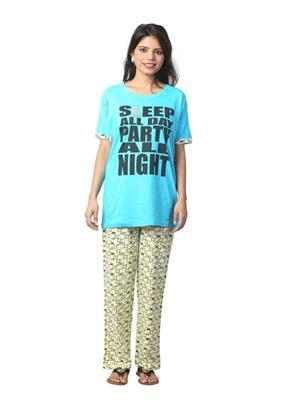ELITE EL- 30 Yellow &  Blue Women Night Wear