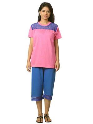 ELITE EL- 6 Blue &  Pink Women Night Wear