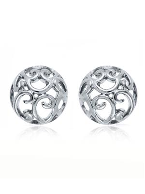 Mahi Fashion Jewellery Curl Round Silver Earring