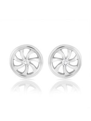 Mahi Fashion Jewellery Wheels of Time White Stone Earring