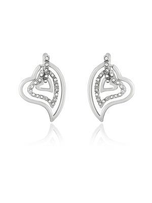 Mahi Fashion Jewellery Three Hearts White Stone Earring
