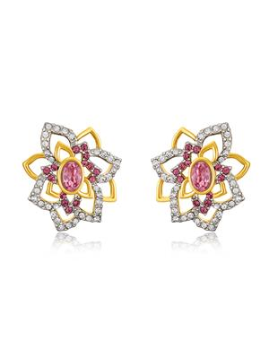 Mahi Fashion Jewellery Pink Rose Flower Pink & White Stone Earring