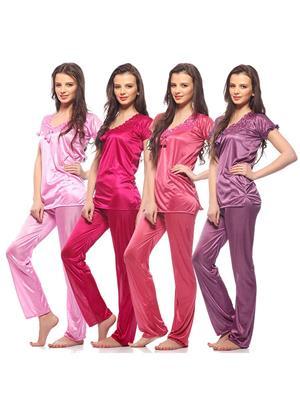 Esmart Deals Esd13165 Multicolored Women Night Suit Of 4