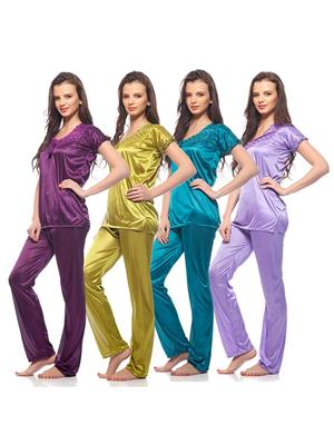 Esmart Deals Esd13168 Multicolored Women Night Suit Of 4