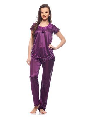 Esmart Deals Esd13177 Dark Purple Women Night Suit