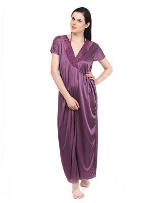 Esmart Deals Esd13222 Purple Women Night Wear With Robe