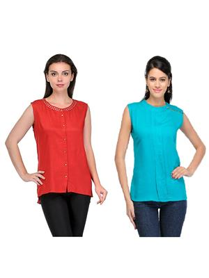 Esmartdeals Esd14466 Red-Green Women Top Combo Pack