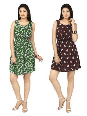 Esmartdeals Esd14841 Green-Maroon Women Dress Combo Pack