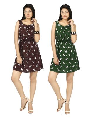 Esmartdeals Esd14849 Maroon-Green Women Dress Combo Pack