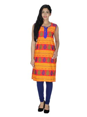 Esmartdeals Esd19192 Blue-Orange Women Kurti
