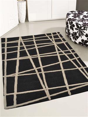 Royzez Handmade Woollen Rug Black K02001