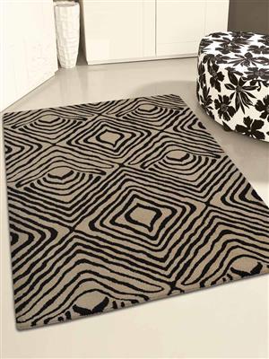 Royzez Handmade Woollen Rug Black Beige K2093040