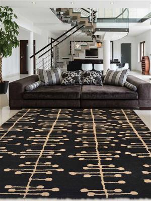 Royzez Handmade Woollen Rug Charcoal Beige K00214