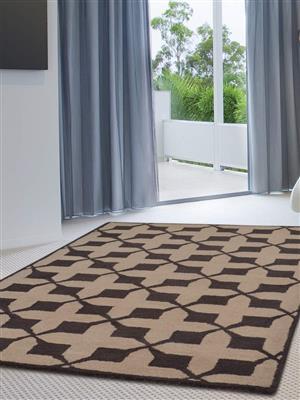 Royzez Handmade Woollen Rug Beige Brown K00301