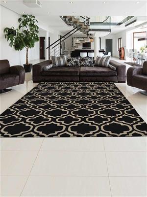 Royzez Handmade Woollen Rug Black White K00302
