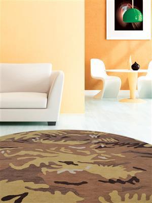Royzez Handmade Woollen Round Rug Brown Gold K00308