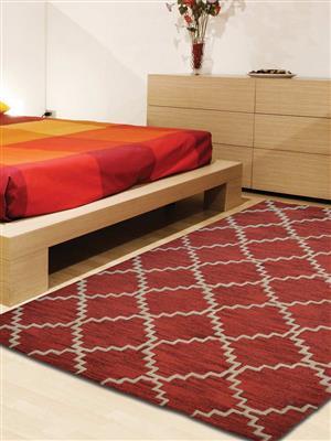 Royzez Handmade Woollen Rug Red White K00555