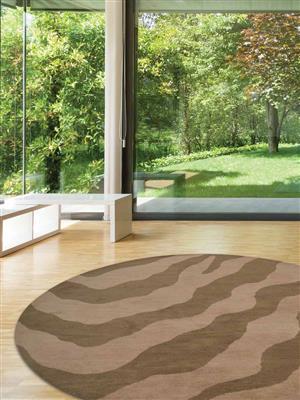 Royzez Handmade Woollen Round Rug Beige Brown K00654