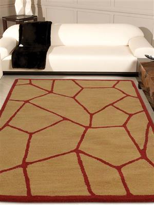 Royzez Handmade Woollen Rug Gold Red K00692