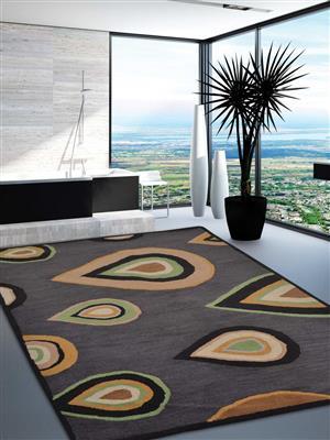 Royzez Handmade Woollen Rug Charcoal K00693