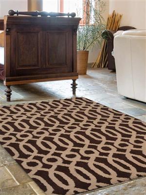 Royzez Handmade Woollen Rug Brown Beige K00734