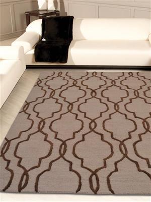 Royzez Handmade Woollen Rug Beige Brown K09014