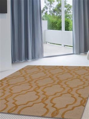 Royzez Handmade Woollen Rug Beige Gold K09014