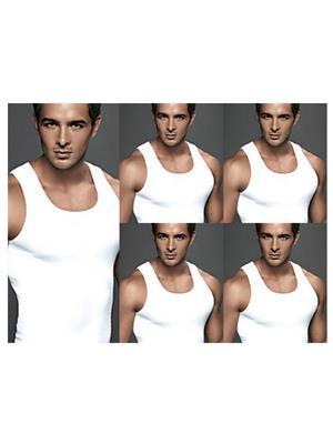 Euro Micra 31501 White Men Vest (Set of 5)