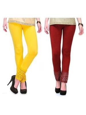 Fashion Arcade FALPC034 Yellow-Maroon Women Leggings Combo Pack