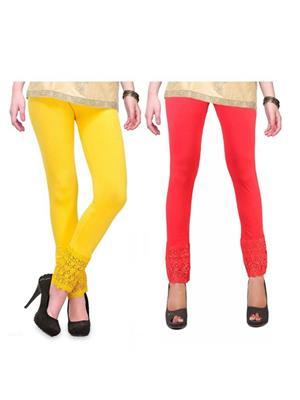 Fashion Arcade FALPC039 Yellow-Orange Women Leggings Combo Pack