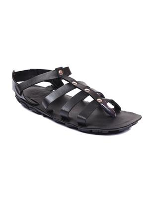 Foot Clone Ancient Black Synthetic Leather Men Floater