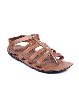Foot Clone Ancient Brown Synthetic Leather Men Sandals