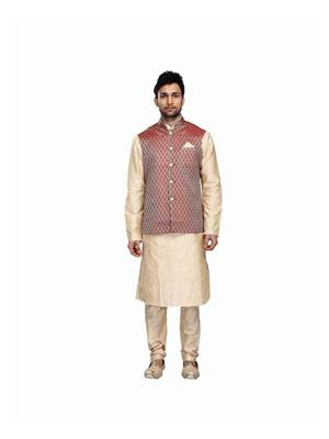 Fashion Curries Fc-173  Mens Beige Linen Jarna With Jacket Andkurta Set