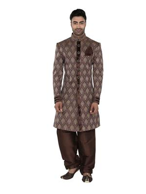 Fashion Curries Fc-196   Brown Fancy Jacquard Indowestern Wear
